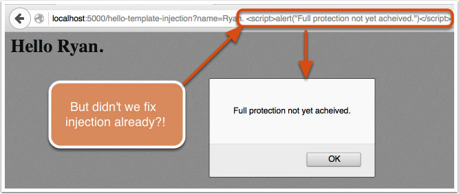 XSS template string